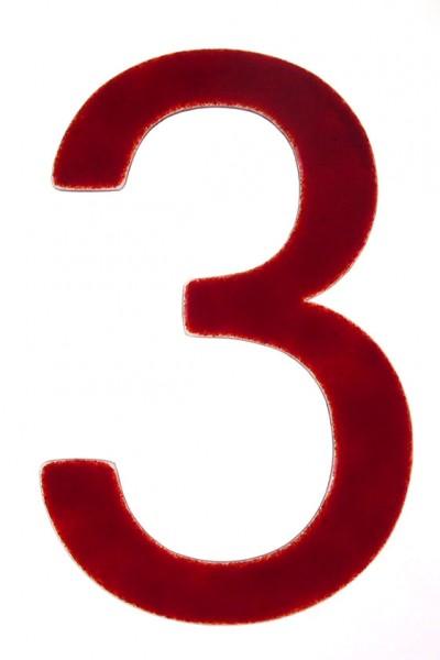 """Hausnummer aus Glas """"3"""""""