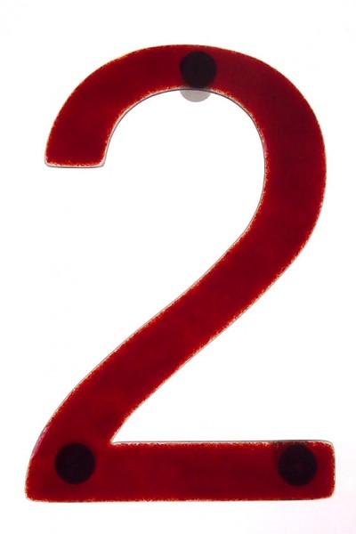 """Hausnummer aus Glas """"2"""""""