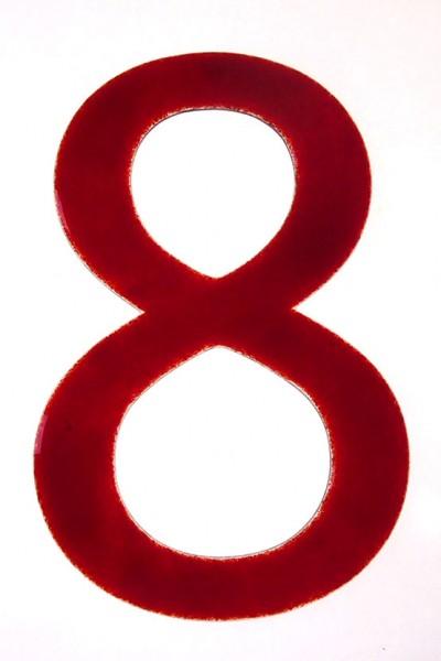 """Hausnummer aus Glas """"8"""""""