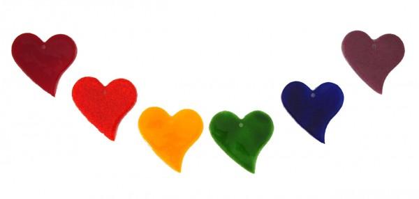 Fusingglas Set Herzen Regenbogendesign
