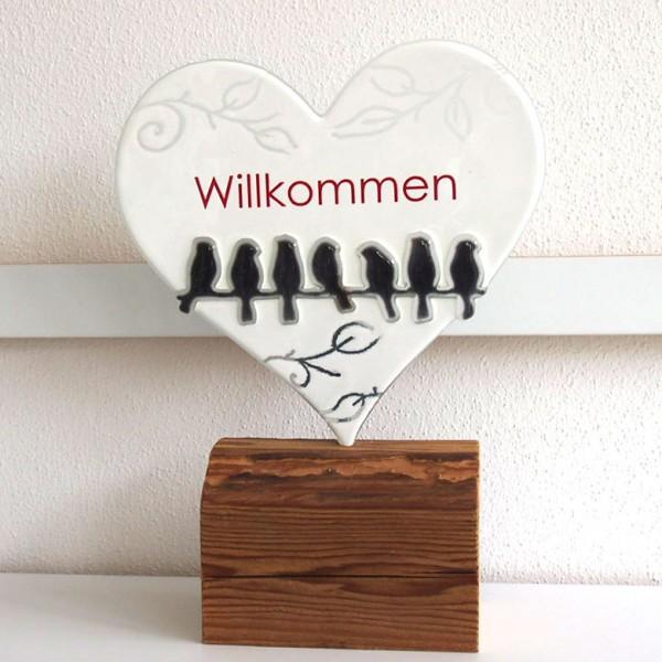 """Fusingglas Herz """"Willkommen"""""""