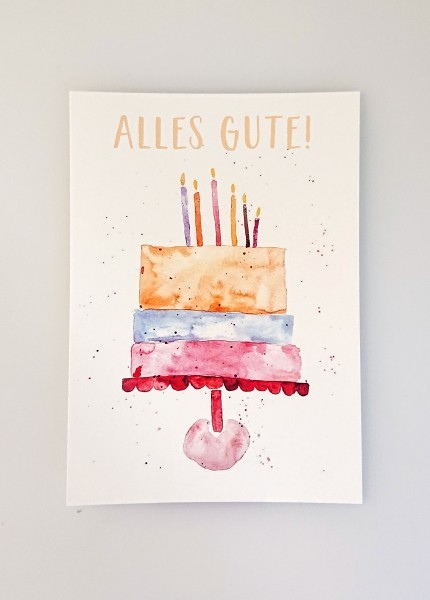"Aquarellkunst Postkarte ""Alles Gute"""
