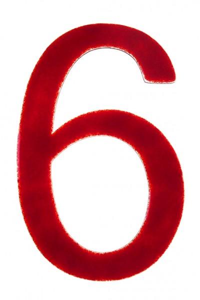 """Hausnummer aus Glas """"6"""""""