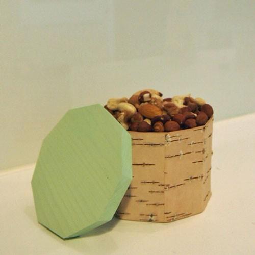 Vorratsdose aus Birkenrinde / mint