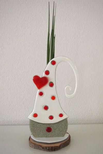 Fusingglas Wichtel mit Liebesmütze
