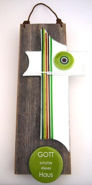 Kreuz 30 cm auf Altholzbrett