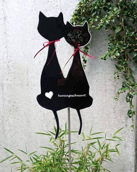 Gartenstecker Katzenpaar