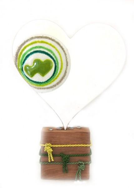 Glasdeko Herz mit Altholzsockel