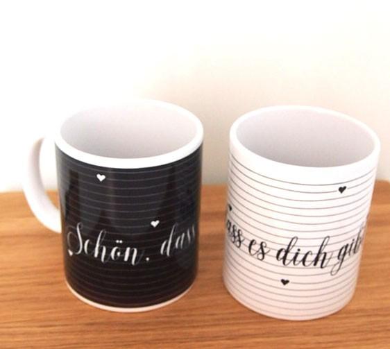 """Tasse schwarz """"Schön dass es dich gibt"""""""