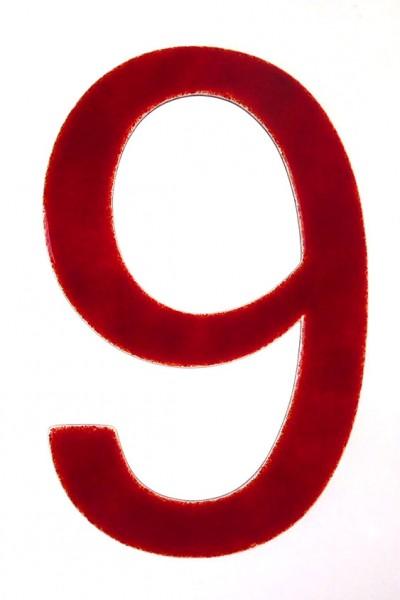 """Hausnummer aus Glas """"9"""""""
