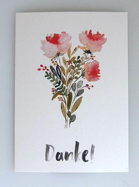 """Aquarellkunst Postkarte """"Danke"""""""