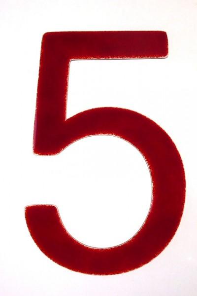 """Hausnummer aus Glas """"5"""""""