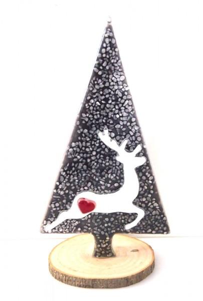 Glasdeko Baum mit Hirsch