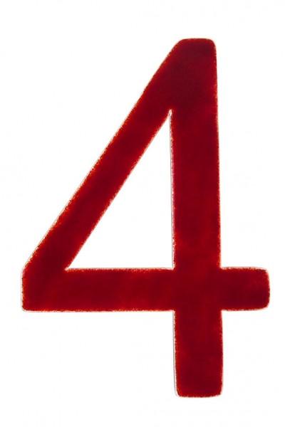 """Hausnummer aus Glas """"4"""""""