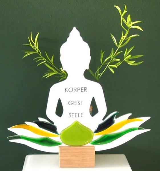 Glasdeko Buddha Körper/Geist/Seele